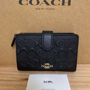 New💃Coach Medium Corner Zip Wallet Leather